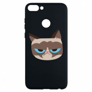 Phone case for Huawei P Smart Very dissatisfied cat - PrintSalon