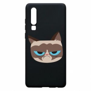 Phone case for Huawei P30 Very dissatisfied cat - PrintSalon