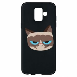 Phone case for Samsung A6 2018 Very dissatisfied cat - PrintSalon