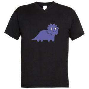 Męska koszulka V-neck Violet dino