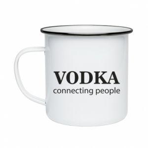 Enameled mug Vodka connecting people - PrintSalon