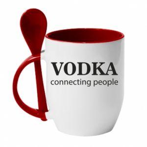 Mug with ceramic spoon Vodka connecting people - PrintSalon
