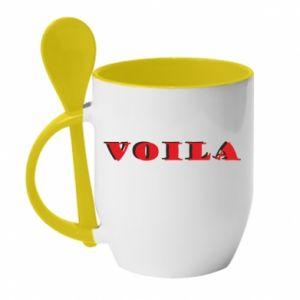 Kubek z ceramiczną łyżeczką Voila