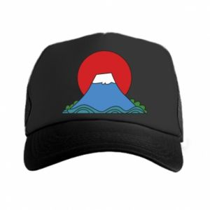 Trucker hat Volcano on sunset background - PrintSalon