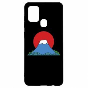 Etui na Samsung A21s Volcano on sunset background