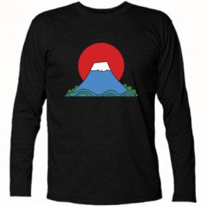 Long Sleeve T-shirt Volcano on sunset background - PrintSalon