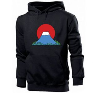 Men's hoodie Volcano on sunset background - PrintSalon