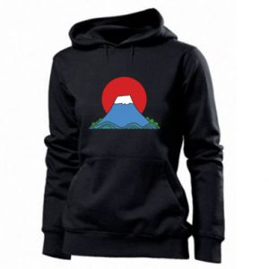 Women's hoodies Volcano on sunset background - PrintSalon