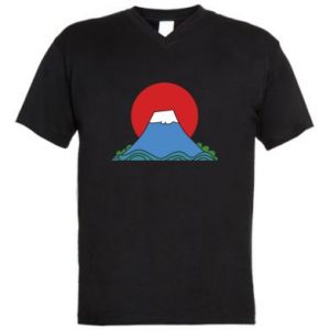 Men's V-neck t-shirt Volcano on sunset background - PrintSalon