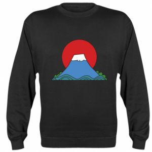 Sweatshirt Volcano on sunset background - PrintSalon