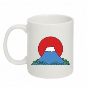 Mug 330ml Volcano on sunset background - PrintSalon
