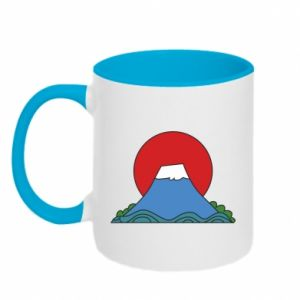 Two-toned mug Volcano on sunset background - PrintSalon