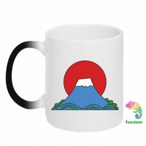 Chameleon mugs Volcano on sunset background - PrintSalon