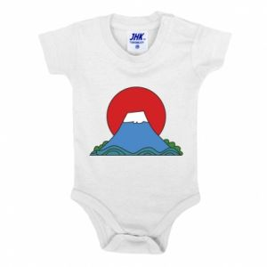 Baby bodysuit Volcano on sunset background - PrintSalon