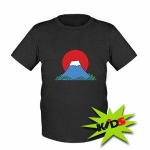 Kids T-shirt Volcano on sunset background - PrintSalon