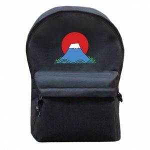 Backpack with front pocket Volcano on sunset background - PrintSalon