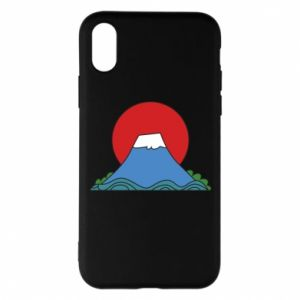 Etui na iPhone X/Xs Volcano on sunset background