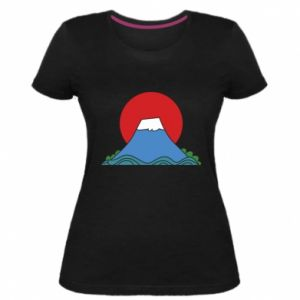 Women's premium t-shirt Volcano on sunset background - PrintSalon