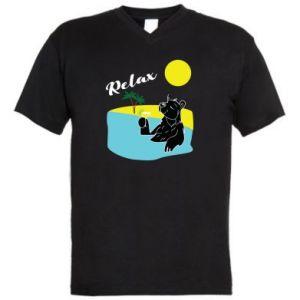 Męska koszulka V-neck Wakacje nad morzem - PrintSalon