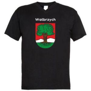Męska koszulka V-neck Wałbrzych. Herb