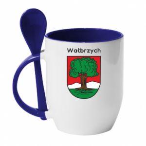 Kubek z ceramiczną łyżeczką Wałbrzych. Herb
