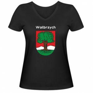 Damska koszulka V-neck Wałbrzych. Herb