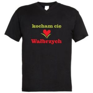 Męska koszulka V-neck Kocham cię Wałbrzych - PrintSalon