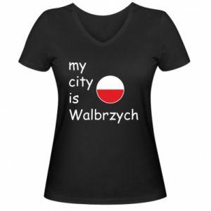 Damska koszulka V-neck My city is Walbrzych
