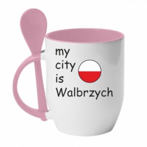 Kubek z ceramiczną łyżeczką My city is Walbrzych