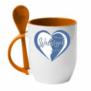 Mug with ceramic spoon Walbrzych. My city is the best