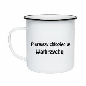Enameled mug The first boy in Walbrzych