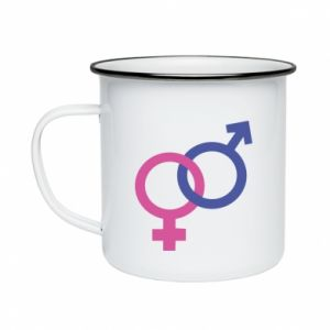 """Enameled mug The signs """"He"""" and """"She"""" are connected"""