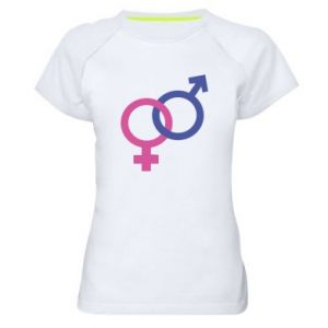 """Women's sports t-shirt The signs """"He"""" and """"She"""" are connected"""
