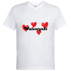 Men's V-neck t-shirt Valentine's Day, with hearts