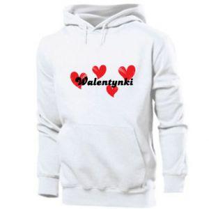 Męska bluza z kapturem Walentynki, z sercami
