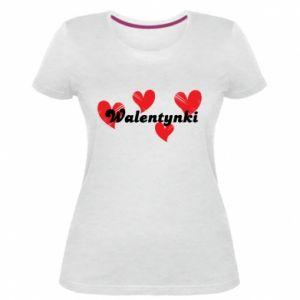 Damska premium koszulka Walentynki, z sercami