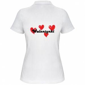 Damska koszulka polo Walentynki, z sercami