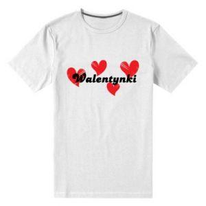 Męska premium koszulka Walentynki, z sercami