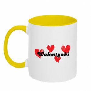 Kubek dwukolorowy Walentynki, z sercami