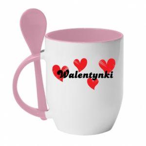 Kubek z ceramiczną łyżeczką Walentynki, z sercami