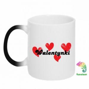Kubek-kameleon Walentynki, z sercami