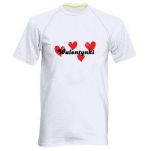 Męska koszulka sportowa Walentynki, z sercami