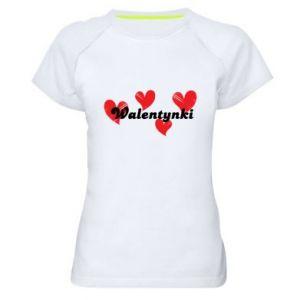 Damska koszulka sportowa Walentynki, z sercami