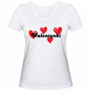 Damska koszulka V-neck Walentynki, z sercami