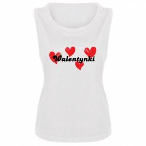 Damska koszulka bez rękawów Walentynki, z sercami