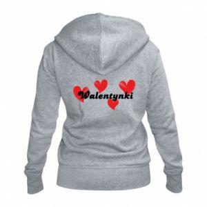 Damska bluza na zamek Walentynki, z sercami