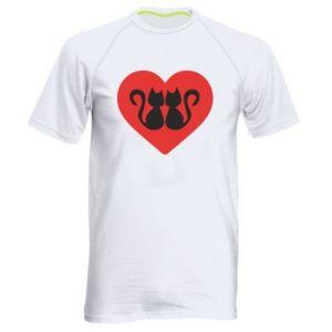 Koszulka sportowa męska Koty w sercu