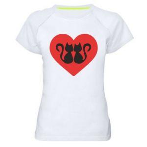 Koszulka sportowa damska Koty w sercu