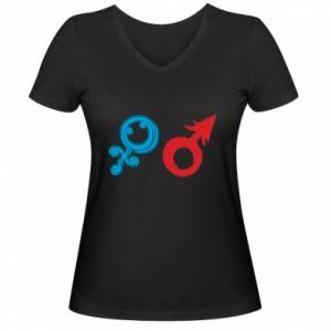 """Damska koszulka V-neck Znaki """"On"""" i """"Ona"""""""