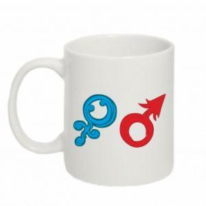 """Mug 330ml Signs """"He"""" and """"She"""""""